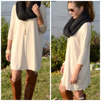 Heaven's Bliss Beige Quarter Sleeve Solid Dress