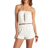 CROCHETED LACE BELTED STRAPLESS ROMPER
