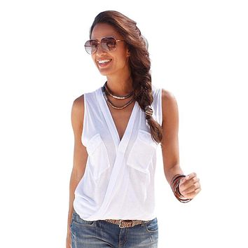 Sexy Summer Female Blouses Deep V-neck Sleeveless Solid Tops Fashion Button Pockets Beach Blouse Tunic Casual Blusas Vest Femme
