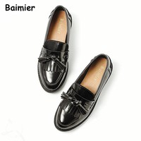 Brand New Women oxfords Flats Platform shoes PU Leather Tassel Slip-on pointed Creeper black Loafers Women Leather Shoes