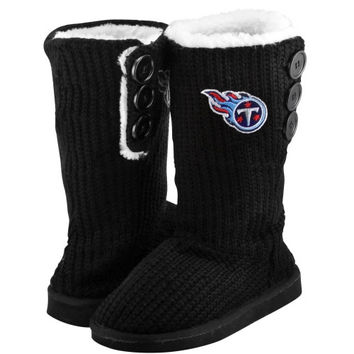 Tennessee Titans Ladies Knit High End Button Boot Slippers - Black
