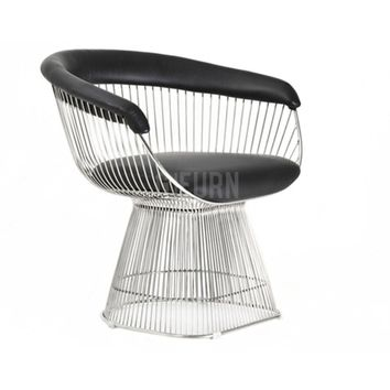 Platner Wire Dining Chair - Upholstered in Leather - Reproduction | GFURN
