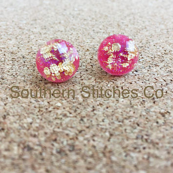 SALE Watermelon Gold Leaf Faceted Earrings Stud Earrings 11.5 MM Boho Jewelry Bridesmaids Gifts