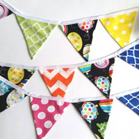Small Fabric Bunting - Birthday Or Celebration Banner - Colorful Pendant Banner - Photo Prop Bunting - Wedding Banner - Party Decor