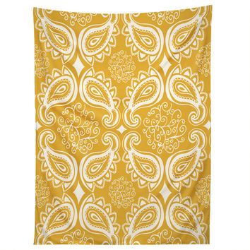 Heather Dutton Plush Paisley Goldenrod Tapestry