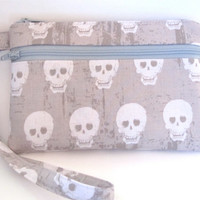wristlet, cell phone wristlet, wrist wallet with removable strap and interior pocket, 2 zip wrist clutch with strap, gray skull fabric