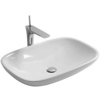 Gio White Ceramic 26 in, Vessel Sink Bowl Above Counter Sink Lavatory Washbasin