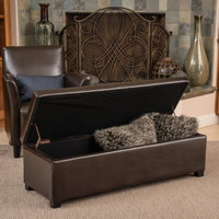 Modern Storage Ottoman Chocolate Brown Bonded Leather Living Room Furniture New