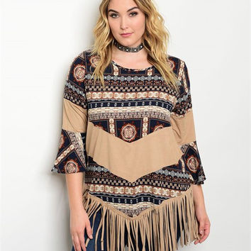 Navy and Ivory Printed Long Sleeve Top with Fringe Detail
