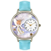 Whimsical Unisex Angel Baby Blue Leather Watch