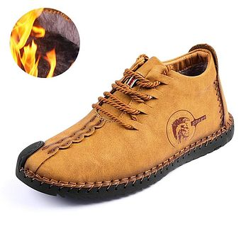 Keep Warm Winter Men Shoes High Quality Moccasin Split Leather Casual Men Shoes with Plush Handmade Fahsion Footwear size 38~47