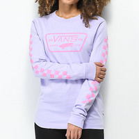 Vans Full Patch Checkerboard Lavender Long Sleeve T-Shirt | Zumiez