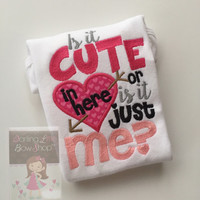 Valentine shirt or bodysuit for girls -- Funky zebra print - Is it CUTE in here or is it just ME? -- sizes Newborn through 12