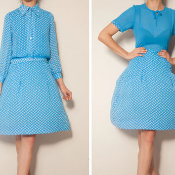 1980's blue printed vintage dress with a jacket,Blue dress,dress with shrug,chiffon dress,art deco dress,summer autumn dress,two piece dress