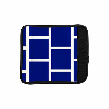 "NL designs ""Navy Square Blocks"" White Pattern Luggage Handle Wrap"