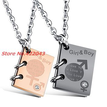 Romantic Rose Gold/Black Color Couple's Sweet Promise Lovers Pendant Necklace 316L Stainless Steel Men Women Jewelry Xmans Gift