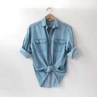 20% OFF SALE / vintage washed out shirt. faded denim shirt. button down shirt. oversized pocket shirt.