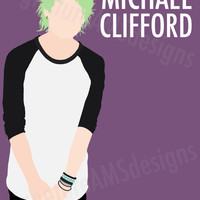 Minimalist Digital Artwork of 5 SECONDS OF SUMMER Band Member, Michael Clifford. (11.7x16.5 inches / A3)