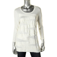 Vince Camuto Womens Modal Blend Tiered Tunic Sweater