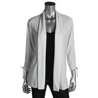 JM Collection Womens Petites Textured Tie Sleeves Cardigan Top