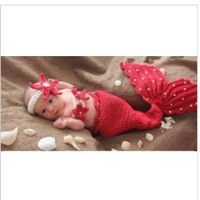 Baby Baby Photography Prop Red Color Cute Crochet Knitted Baby Hats Girl Boy Baby Costume