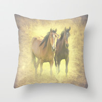 Horses Throw Pillow by Peaky40