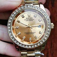 Rolex fashion casual men and women with diamond business watch