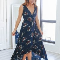 Floral Affections Wrap Maxi Dress