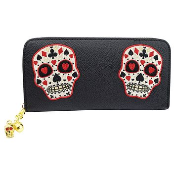 Rockabilly Deck of Cards Skull Embroidered Zip Around Wallet