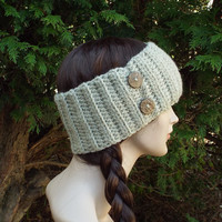 Oatmeal Ear Warmer - Crochet Headband with Buttons - Beige Head Wrap - Womens Ski Band