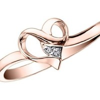 Diamond Heart Promise Ring in 10K Gold