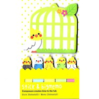 Large Parakeet Bird Shaped Animal Themed Memo Post-it Index Sticky Pad Bookmark Tabs