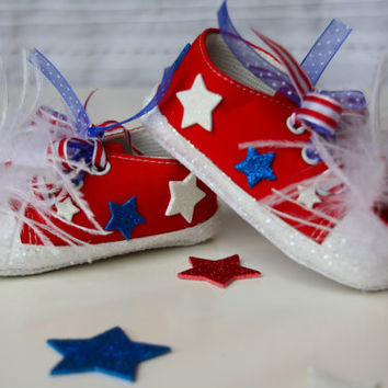 Pageant Shoes, Bling Shoes, 4th of July, Memorial Day, Tennis Shoes, Kids Shoes, Pageant OOC, Outfit of Choice, Red Tennis Shoes, Baby Shoes