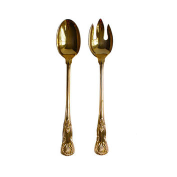 2 Pc Gold Salad Set / Serving Spoon, Fork / Vintage Brass Flatware / Chic, Festive Utensils / Hollywood Regency / Silverware
