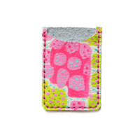 Green and Hot Pink Minimsl Wallet, Polka Dot Abstract Art, Modern Card Case | Boo and Boo Factory - Handmade Leather Jewelry