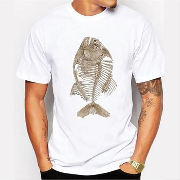 Asian Size Fashion  retro printed men t shirt short sleeve casual  hipster top fish bone funny cool tee shirts