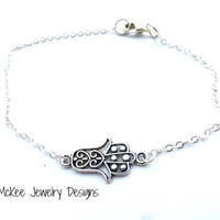 Sterling silver chain anklet, Fatima Hamsa Hand charm (any size)