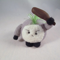 Needle Felted Monster - Fighting Wool Fiber Soft Sculpture