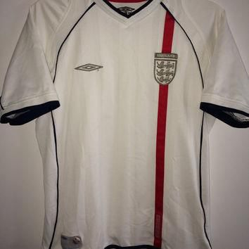 Sale!! Vintage Umbro England Soccer Jersey World Cup Football Shirt Beckham Free US Sh