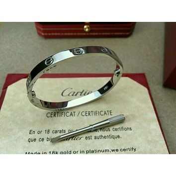 Authentic Cartier Love Bangle Bracelet 18k white Gold size 17