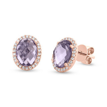 0.14ct Diamond & 2.56ct Amethyst 14k Rose Gold Earring