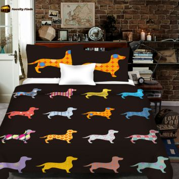 Colorful Wiener Dog All Over Print Bedding Set