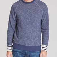 French Terry Crew Neck - Marled Blue