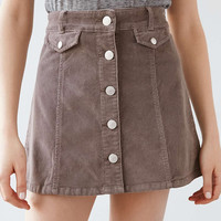 BDG Button-Front Corduroy Mini Skirt - Urban Outfitters
