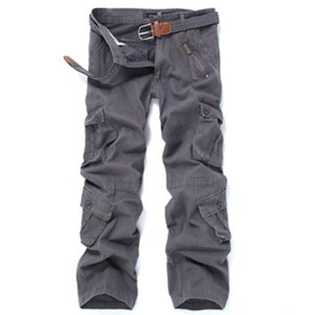 MENS CARGO PANTS FLEECE WINTER Lined Work Trouser Casual Outdoors Sporting Thick Thermal Jeans Multi Pocket