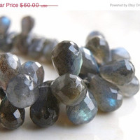 51% OFF Labradorite Gemstone Briolette AAA Grey Faceted Teardrop Drilled 7mm FULL Strand 75 beads