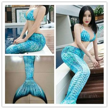 3pcs/Set 2018 adult Mermaid Tail with Monofin for women Ariel Costume Swimming Swimmable Mermaid Tail cosplay halloween Costumes