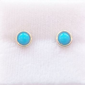 4mm Cabochon Stud Earrings With Turquoise