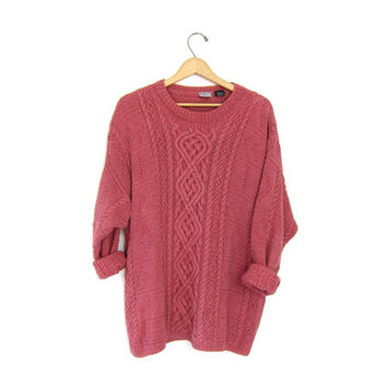 Pink chunky knit sweater. Cable knit sweater. Long knit jumper. soft + heavy knit sweater. Preppy knit oversized slouchy sweater. M L