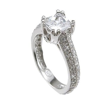 Plutus Brands 925 Sterling Silver Rhodium Finish CZ Princess Antique Style Engagement Ring 1.5 Carat Weight- Size 7